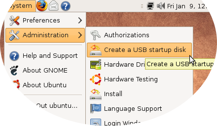 "Click ""Create a USB startup disk"""